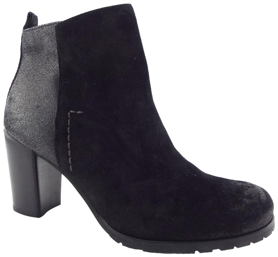 61ba2e47e21 Paul Green Black Waxed Suede Leather Block-heel Ankle Boots Booties ...