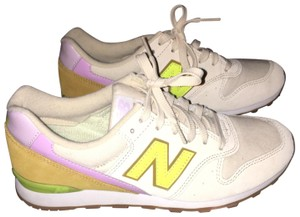 New Balance tan, lime green and purple Athletic