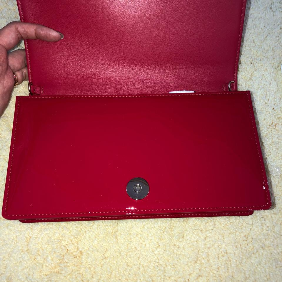 Dior Lady Dior Wallet On Chain Red Patent Leather Cross Body Bag - Tradesy f309e92d28928