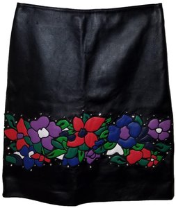 Escada Leather Studded Floral Applique Skirt Black / Multi