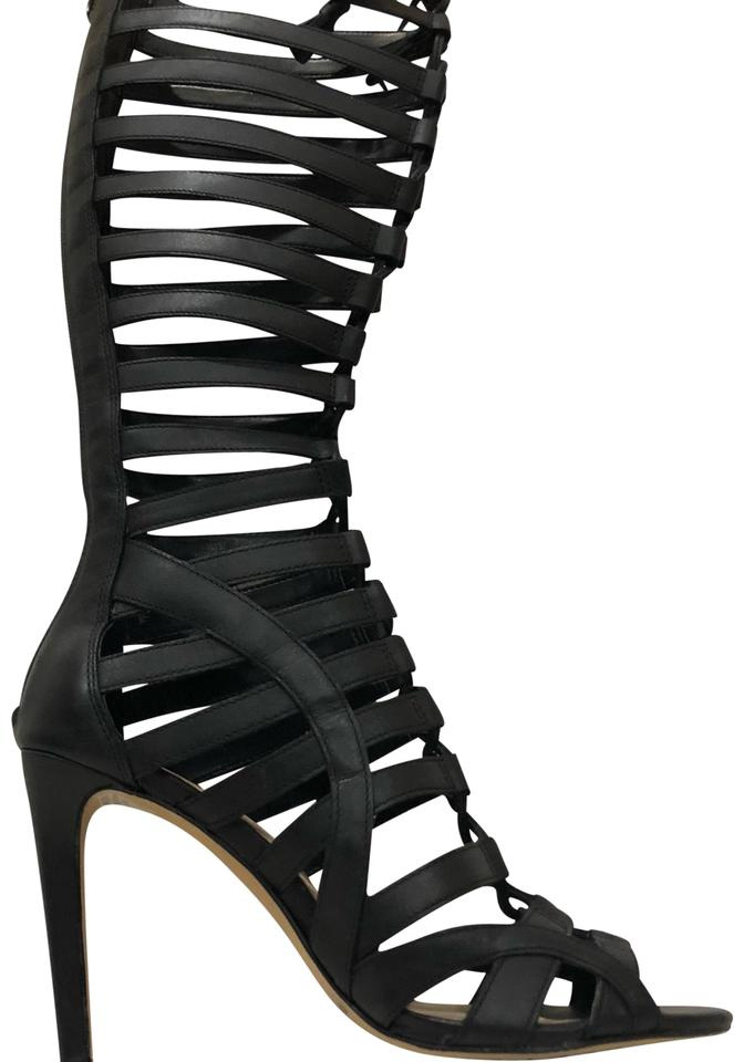 f3d6323c933 Vince Camuto Black Olivian Tall Kneehigh Gladiator Sandals Boots ...