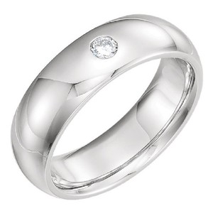 Apples of Gold Diamond Solitaire Band In 14k White Ring
