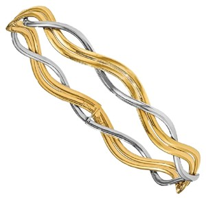 Apples of Gold BRAIDED SLIP-ON BANGLE IN 14K TWO-TONE GOLD
