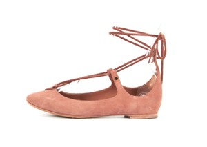 Chloé Suede Lace Up Ballet Foster Pink Flats