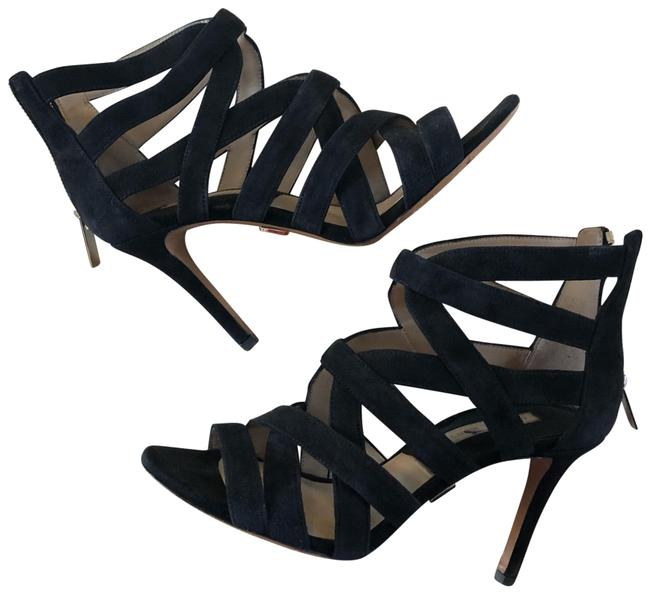 Item - Black Strappy Suede Leather with Zipper Formal Shoes Size EU 36.5 (Approx. US 6.5) Regular (M, B)