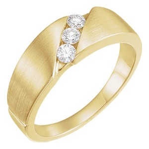 Apples of Gold Women's 3-stone 1/5 Carat Diamond Band 14k Ring