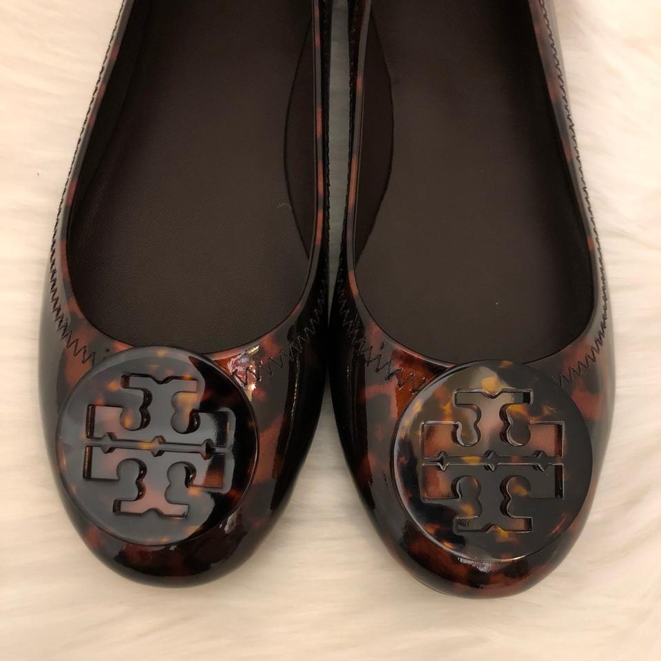 ab0fd550b04b Tory Burch Tortoise New Minnie Travel Ballet with Logo Flats Size US ...