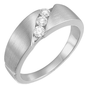 Apples of Gold 3-stone 1/5 Carat Diamond Band For Women 14k White Ring