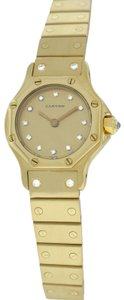Cartier Ladies Cartier Octagon Solid 18K Yellow Gold Diamond 24MM Automatic