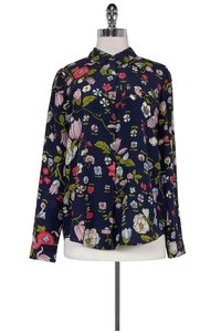 Rebecca Taylor Navy Floral Silk Top