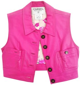 Chanel Leather Cc Logo Buttons Lambskin Fr 40 Vest