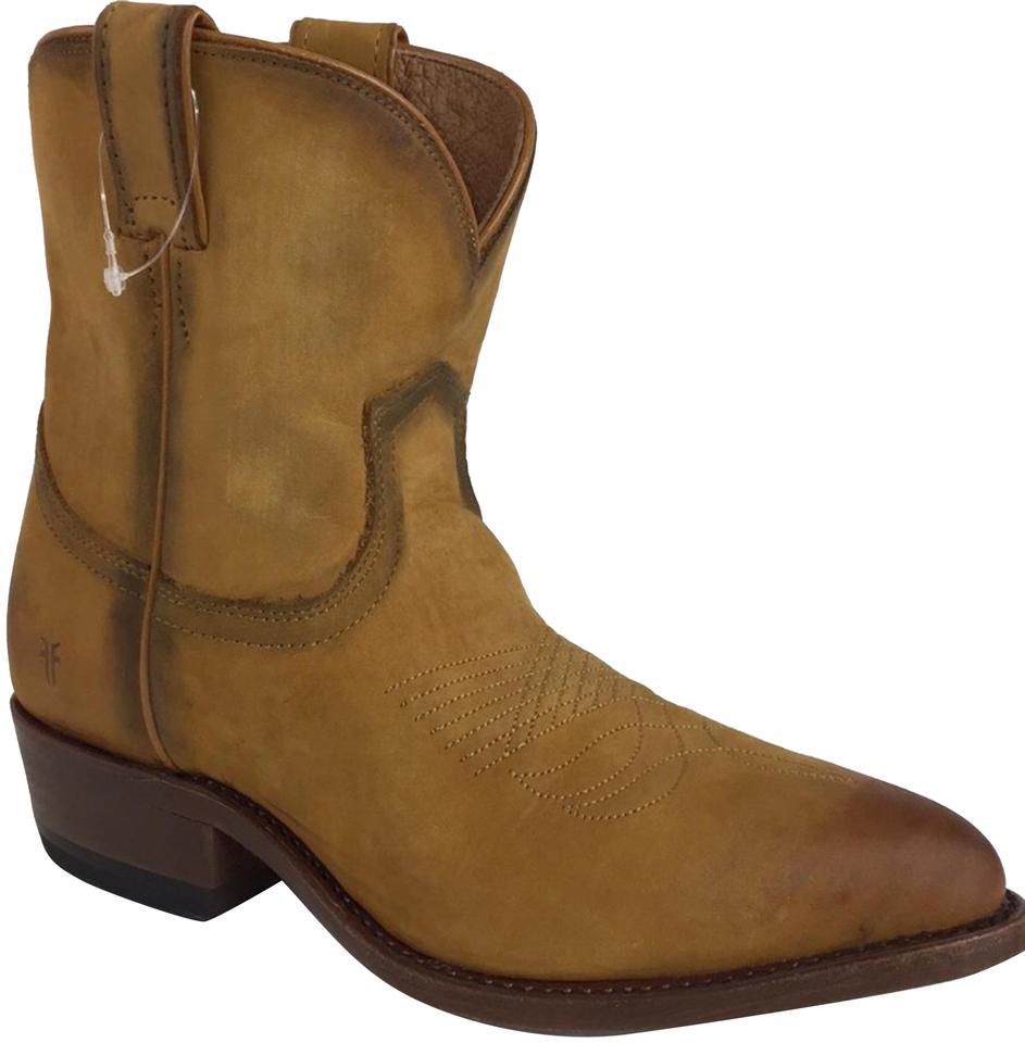 80f3d1563d8 Frye Cognac Girl New Western Distressed Leather Billy Short Cow Boots/ Booties