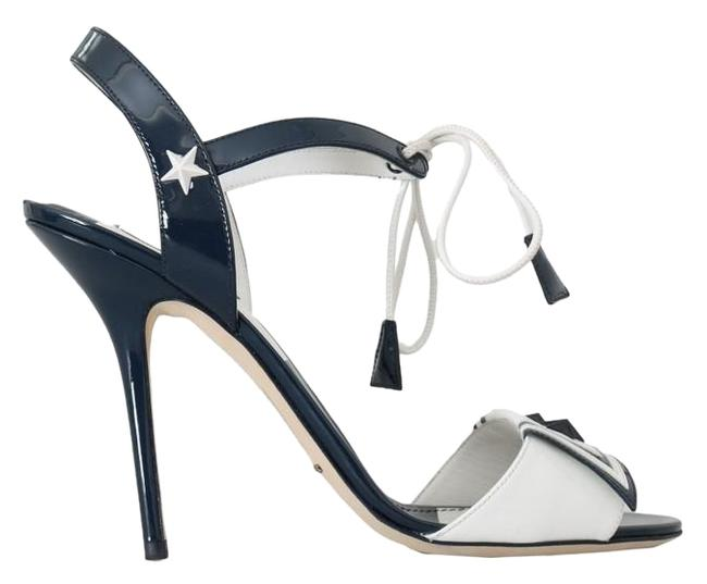 Item - Blue / White D4157-11 Women's / Leather Marina Sandals Size US 10.5 Narrow (Aa, N)