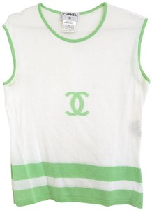 Chanel Cc Logo Pullover Wool Vest 00s Fr 42 Top WHITE, GREEN