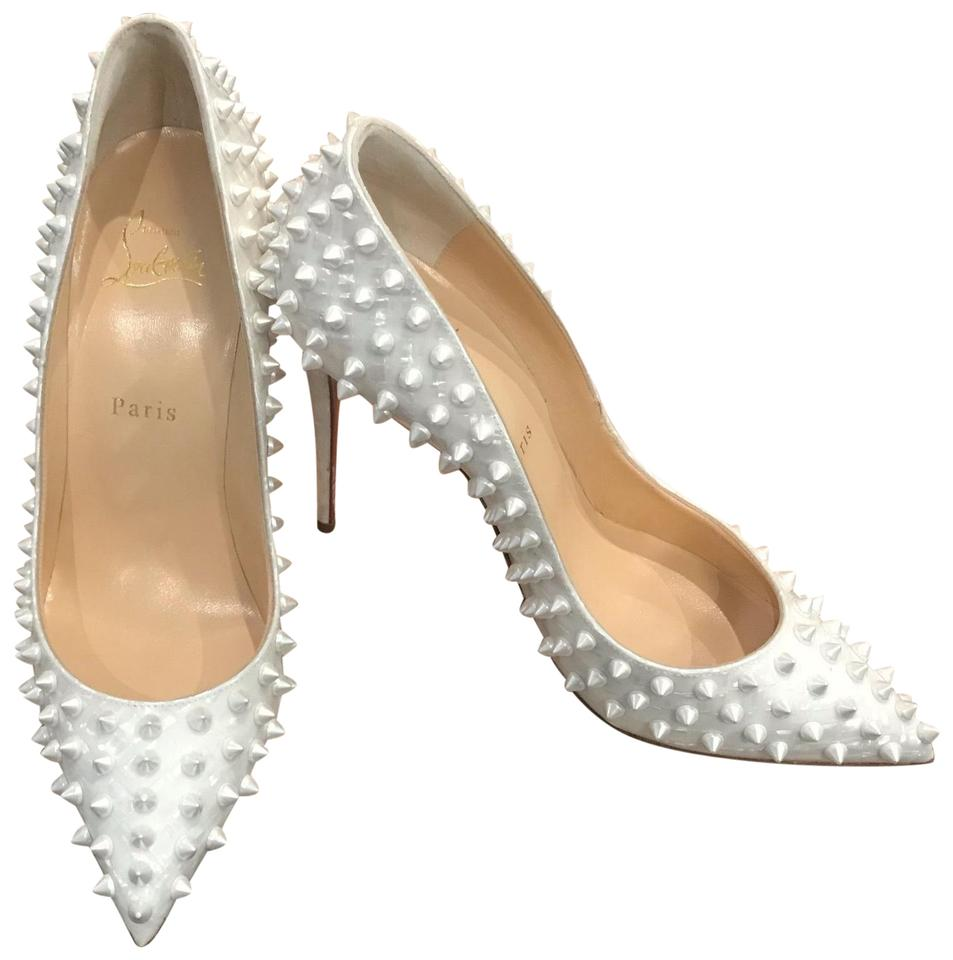 98ed5fa9e78f Christian Louboutin German Pearl Latte Follies Spikes 100 Patent Pumps