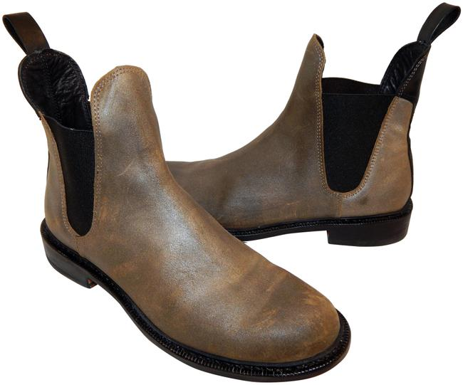 Item - Khaki Black Distressed Leather Ankle Boots/Booties Size EU 41 (Approx. US 11) Regular (M, B)