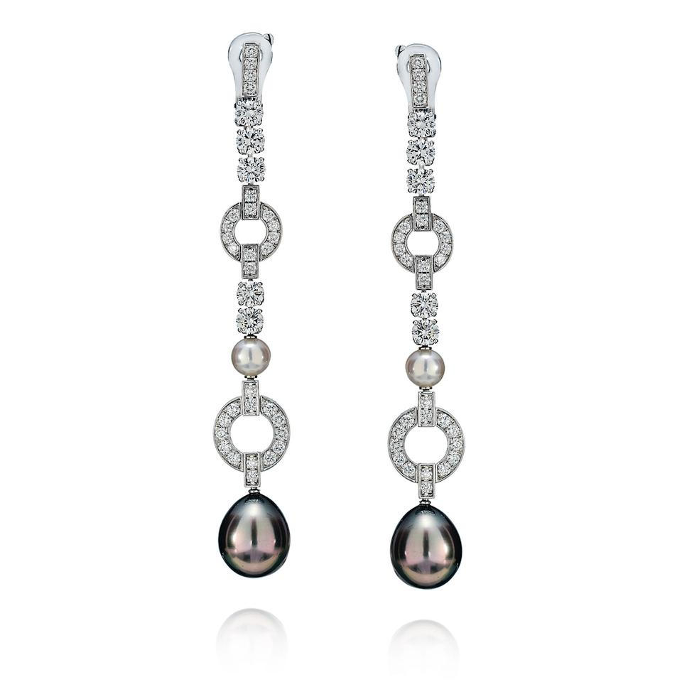a02f7af24ebf1 Cartier White Chandelier Diamond Drop Pearl Himalia Gold Earrings ...