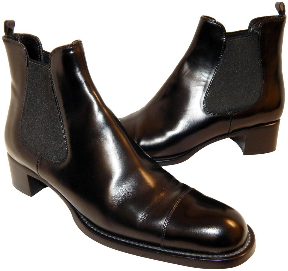 9a1df4a6b3d859 Prada Black Leather Ankle Boots/Booties Size EU 39.5 (Approx. US 9.5 ...