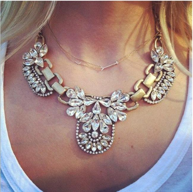 Item - Brown White Vintage Retro Choker Style Designer Crystal Stone Party Necklace