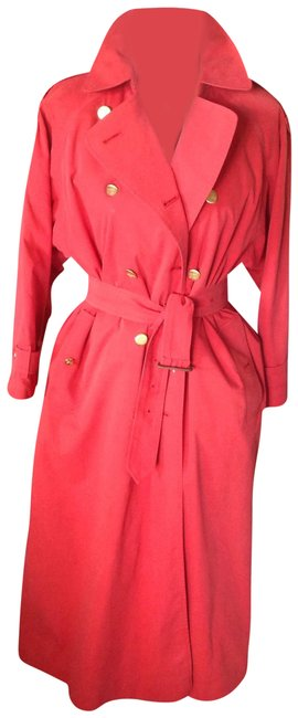 Burberry Red With Gold Warrior Buttons Coat Size Petite 8 (M) Burberry Red With Gold Warrior Buttons Coat Size Petite 8 (M) Image 1