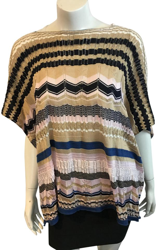 0ca366e2d5 Missoni Multicolor 791118 Pink Blue Black Gold Zigzag Poncho Scarf Wrap