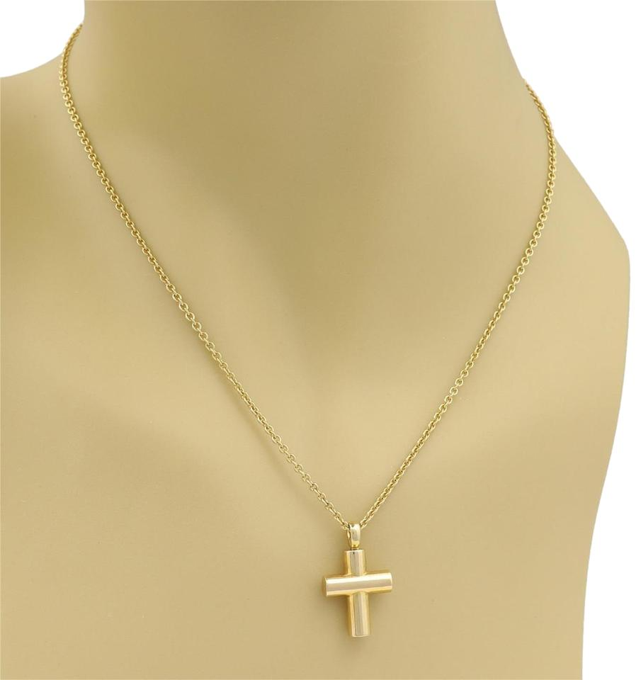 52e28f7ed BVLGARI 22360/ W Cross 18k Yellow Gold Pendant W/Chain Necklace ...