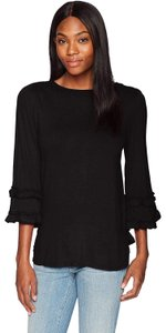 Max Studio Tuffle Knit Pullover Top Black