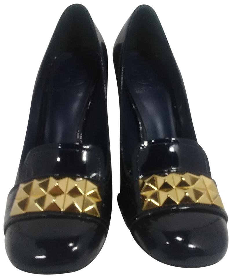 61a179a2c423ae Tory Burch Navy Blue Patent Leather Studded Heels Boots Booties Size ...