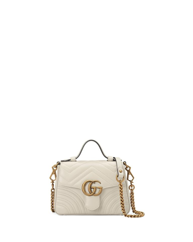 5a1bbdeec79 Gucci Marmont New Top Handle Mini Gold White Leather Cross Body Bag ...