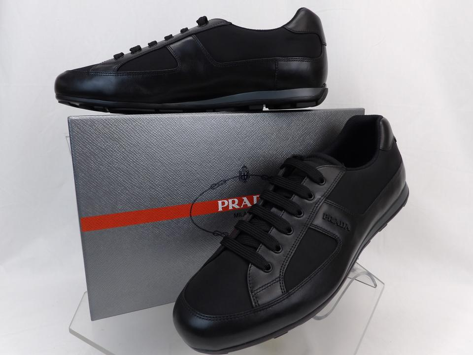 306c0d45ca Prada Black Leather Nylon Lace Up Lettering Logo Sneakers 11 Us 12 Shoes  47% off retail