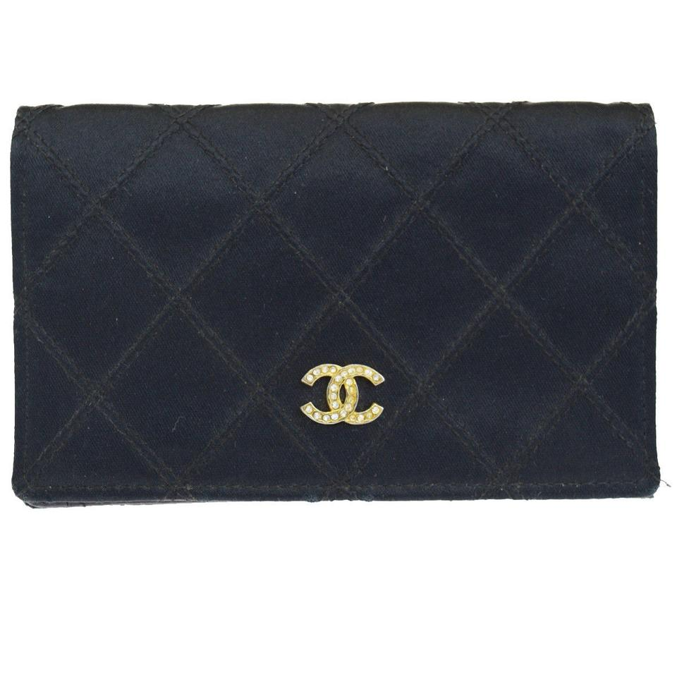 4f0386a45299 Chanel CHANEL CC Logos Rhinestone Quilted Wallet Purse Satin Leather Black  Image 0 ...