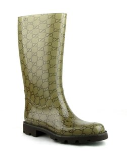 Gucci Women's Rubber Rain Light Brown Boots