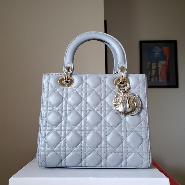 Item - Lady 450 2018 Grey Lambskin Leather Tote