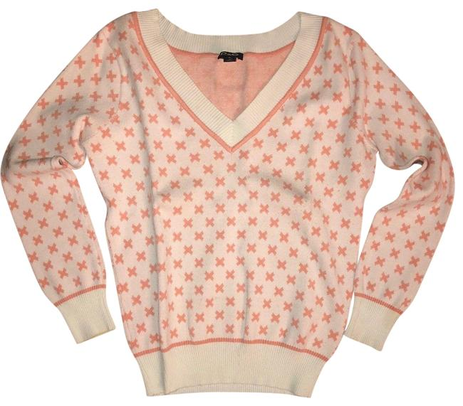 Item - Multi-color Dolce & Gabanna D & G Women's White Pink V Neck Print X Golf Sweater S Activewear Outerwear Size 4 (S)