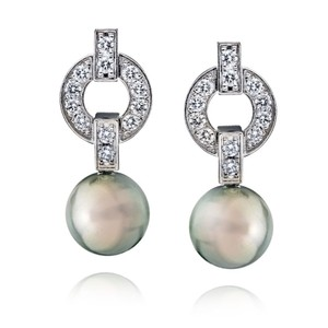 Cartier Himalia Pearl Diamond Drop Earrings 18K White Gold