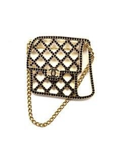 Chanel 2017 Goldtone Quilted Flap Bag Brooch Pin With Chain