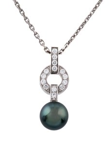 Cartier Himalia Pearl Diamond Drop Pendant 18K White Gold