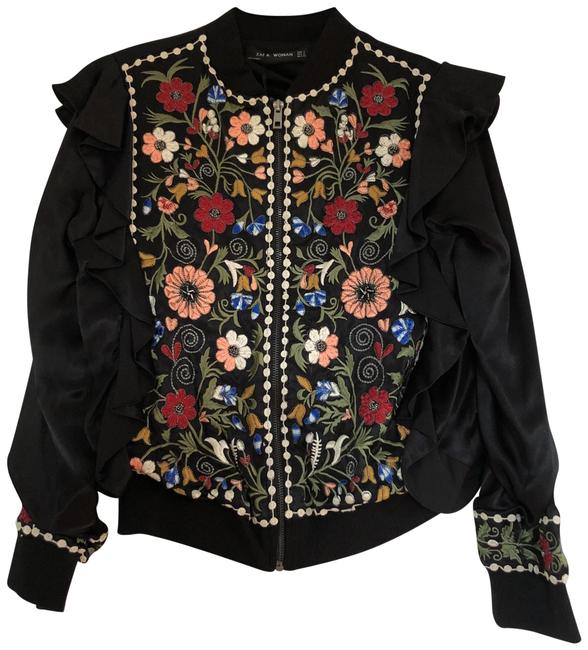 Item - Multicolored Black Embroidered Jacket Size 4 (S)