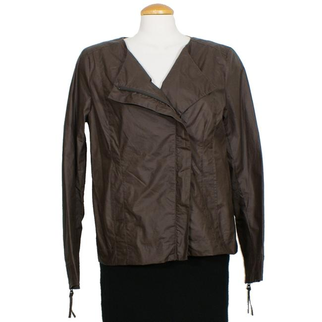 Item - Cobblestone Brown Washed Waxed Cotton Asymmetrical Jacket Size 6 (S)