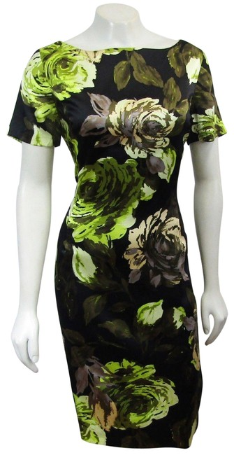 Item - Multicolor New Small Silk Blend Floral Print Black Green Short Cocktail Dress Size 4 (S)