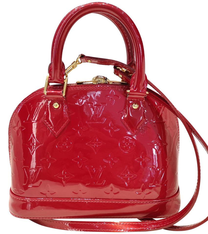 Louis Vuitton Alma Vernis Bb Cerise Cherry Red Patent Leather Cross ... c8df257aa3