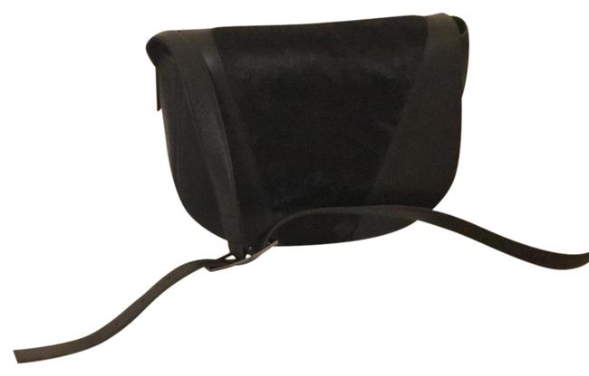 Item - Modern V Saddle Black Leather and Calf Hair Cross Body Bag