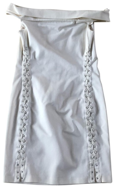 Item - Cream Tie Up Sides Off The Shoulder Mid-length Short Casual Dress Size 2 (XS)