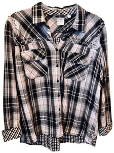 Guess Plaid Jeweled Cotton Button Down Shirt Black, White, and Pink