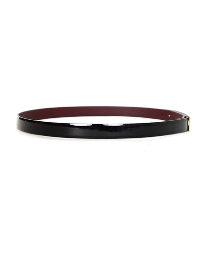Chanel 2015 Black Patent Leather Belt W/ Cut Out Buckle Sz 85