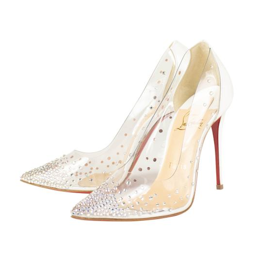 Christian Louboutin Silver Diamond Pvc Studded Pointed Toe White Pumps