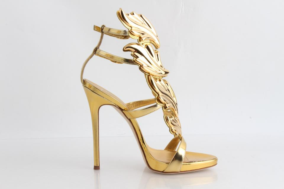 c00e05f36bbfd Giuseppe Zanotti Gold Coline Wings Suede 110mm Sandals Size US 7 Narrow  (Aa, N) - Tradesy