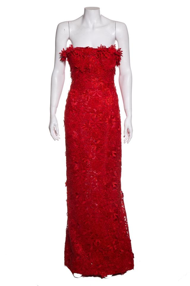 Oscar De La Renta Red Lace Evening Gown Long Formal Dress Size 0 Xs