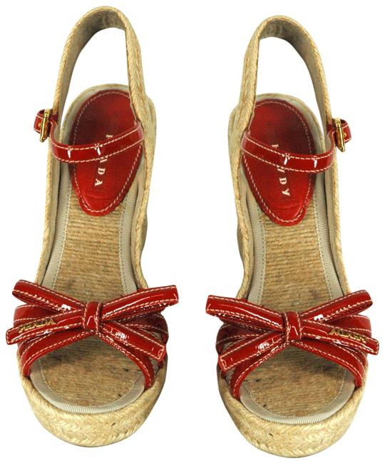 Item - Red Patent Leather Cork Sandals Wedges Size EU 37 (Approx. US 7) Regular (M, B)