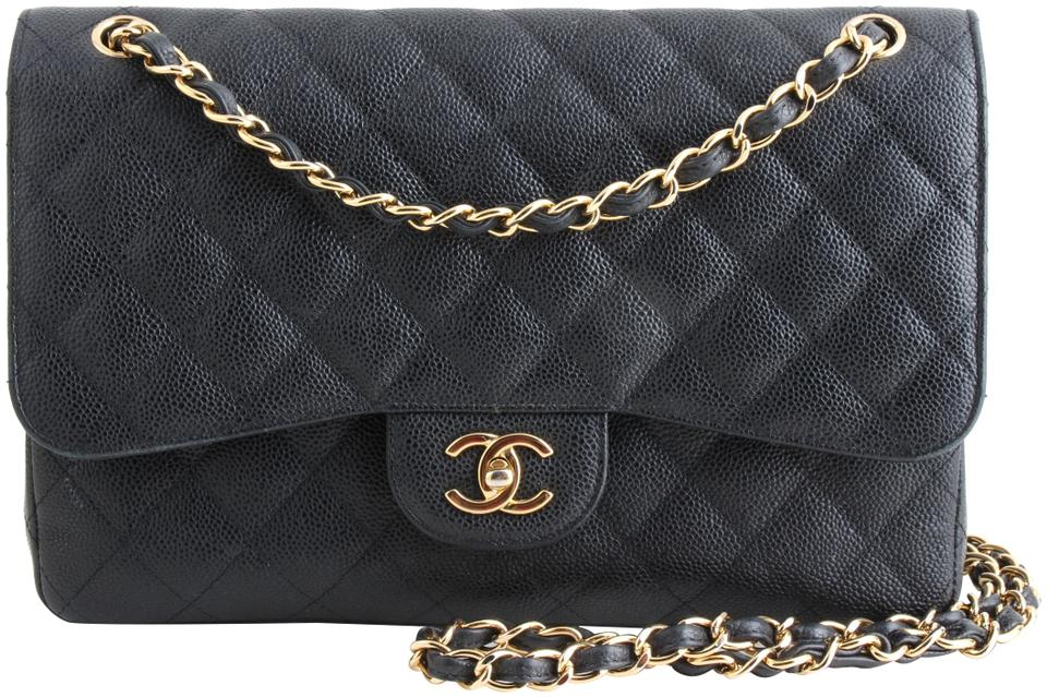 83470e66950e Chanel Classic Double Flap Caviar Quilted Jumbo Black Leather Shoulder Bag